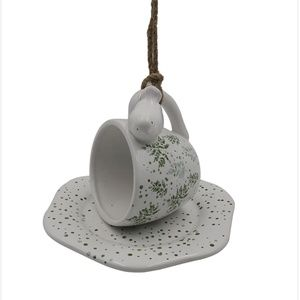 Place & Time Ceramic Hanging Teacup Birdhouse NWT